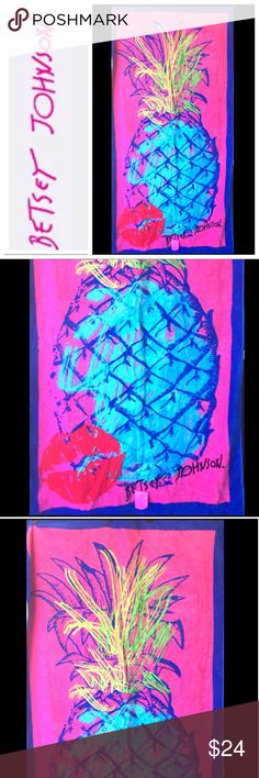 Betsey Johnson Pink Pineapple Kiss Beach Towel NWT Betsey Johnson Electric Blue & Hot Pink Pineapple Kiss Beach Towel. Bold electric blue pineapple bright red kiss. Comprised of fiber reactive dye that keeps the prints vibrant even after many washings. Available in pineapple orange  Betsey Johnson Swim