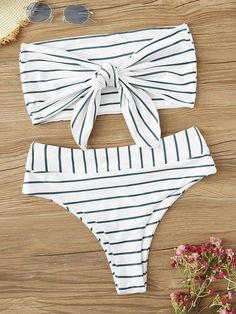 Romwe Sport Sexy Bikinis Set Striped Tie Front Bandeau With High Waist Bottoms Swimsuit Women Summer Wire Free Beach Swimwear Source by mythgardent Swimwear high waisted Cute Bikinis, Cute Swimsuits, Women Swimsuits, Summer Bathing Suits, Girls Bathing Suits, Agent Provocateur, Green One Piece, Bikini Outfits, Women's One Piece Swimsuits
