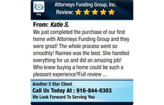 We just completed the purchase of our first home with Attorneys Funding Group and they...