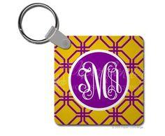 Purple/Yellow trellis Keychain