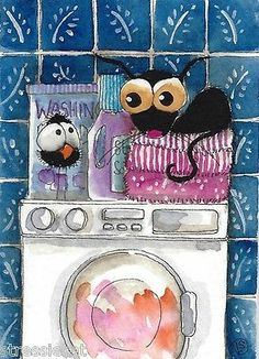 ACEO Original Watercolor Folk Art Illustration Stressie Cat Laundry Crow Towels | eBay