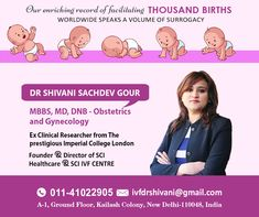Get OFF up to on your Booking through us at Dr Shivani Sachdev Gour clinic. She is an IVF Specialist that has more than of experience. Art Fertility, Fertility Center, Imperial College, Obstetrics And Gynaecology, Infertility Treatment, Thing 1, Surrogacy, Female Doctor, Doctor In