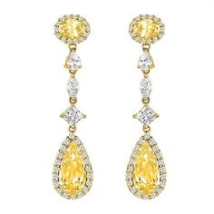 Simulated canary diamond and 14K yellow gold earrings