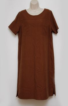Orvis Womens Dress Silk Shift Brown Travel Comfort XL Extra Large | eBay