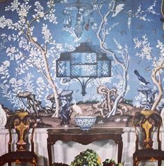 """Blue and white chinoiserie panels at #williamsburg from a vintage House & Garden book. #blueandwhite #chinoiserie #design #interiordesign #decor #classic…"""