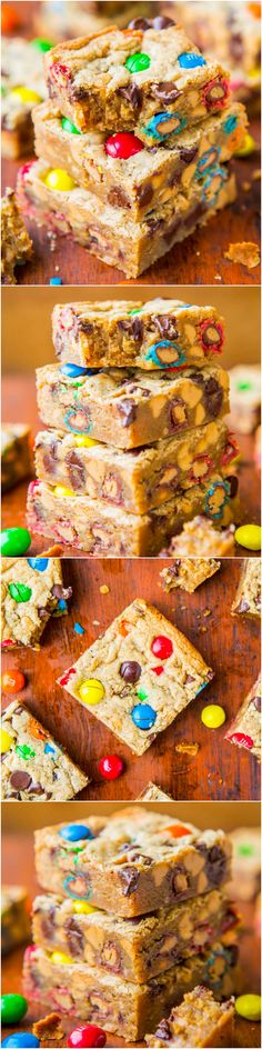 Triple Peanut Butter Monster Cookie Bars - Soft, gooey bars loaded with…