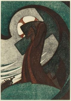 Christ praying at Gethsemane, 1951 linocut by Sybil Andrews (Andrews, among many other fascinating things, worked as a welder in an aircraft factory during WWI and in a shipyard during WWII) Sybil Andrews, Canadian Artists, Wood Engraving, Sacred Art, Linocut Prints, Christian Art, Religious Art, Print Artist, Pottery Art