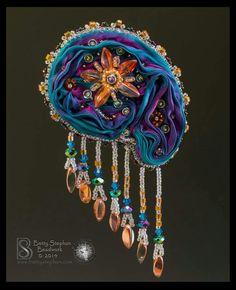 by Betty Stephan Ribbon Jewelry, Jewelry Crafts, Shibori, Cameo Pendant, Silk Ribbon, Bead Art, Beaded Embroidery, Pendants, Brooch