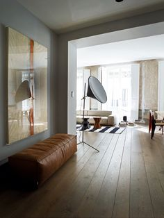 L'ingresso al living con l'opera di Luis Moscardò , un elemento Extrawall di Living Divani, lampada di Tom Dixon.