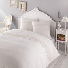 Witte ALBERTINE linnen dekbedovertrek-set 260 x 240 cm