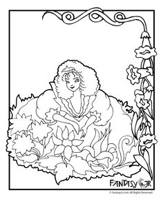 Flower Fairy Coloring Pages Flower Fairy Coloring Page 1 – Fantasy Jr.