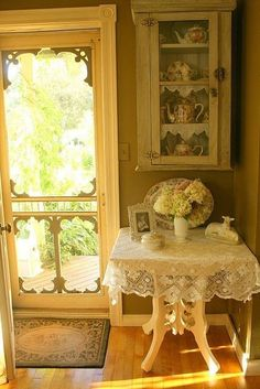 love the door, lace and scale of room