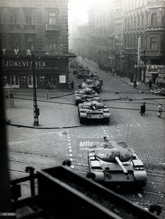 Budapest, Hungary, October Soviet tanks on the streets of Budapest during the Hungarian Uprising (Photo by Bentley Archive/Popperfoto via Getty Images/Getty Images) Warsaw Pact, Political Events, Budapest Hungary, Panzer, Armored Vehicles, Historical Photos, Warfare, Old Photos, The Past