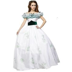Gone with the Wind Scarlett O' Hara Twelve Oaks Gown Costume - Adult, Size: 14-16, Multicolor