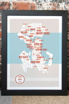 Seattle Neighborhoods Map by These are Things on @HauteLook