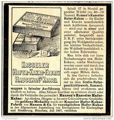 Original-Werbung/ Anzeige 1897 - KASSELER HAFER KAKAO - HAUSEN - KASSEL - ca. 90 x 100 mm