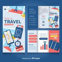Travel trifold brochure template Free Ve. Brochure Examples, Free Brochure, Brochure Trifold, Travel Brochure Design, Travel Brochure Template, Pamphlet Design, Booklet Design, Magazine Ideas, Brochure Design Inspiration