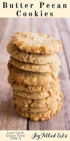 Butter Pecan Cookies - Low Carb, gluten Grain Sugar and Egg Free, THM S, keto via @joyfilledeats