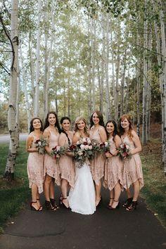 Boho Bridesmaid Dresses Knee Length Pink Lace Broken Top Club