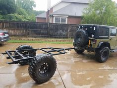 Here is the frame for Kyle's third Extended J-Series Jeep Trailer waiting for the floor and tub. Off Road Camper Trailer, Trailer Diy, Trailer Plans, Trailer Build, Quad Trailer, Trailer Awning, Atv Trailers, Adventure Trailers, Custom Trailers