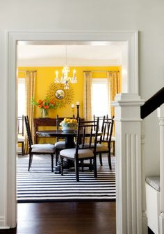 7 Vibrant Tips AND Tricks: Transitional Furniture Luxury Homes transitional decor ideas. Living Room Yellow Accents, Yellow Accent Walls, Yellow Dining Room, Dining Rooms, Yellow Rooms, Dining Table, Dining Area, Dining Chairs, Transitional Living Rooms
