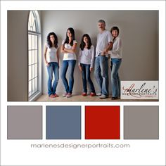Blue, Grey, Taupe and a touch of Red Colour Palette