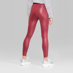 038cc727bd41b Women's High-Waist Faux Leather Leggings - Wild Fable Maroon S, Red