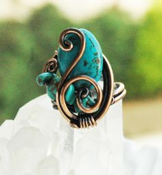 Turquoise Ring Blue Turquoise Adjustable Copper by mysticdukkan, $29.00