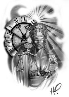 Ladyjustice666999 Grey Tattoo, Black Tattoos, New Tattoos, Tattoos For Guys, Watch Tattoos, Mujeres Tattoo, Libra Tattoo, Lady Justice, Jesus Tattoo