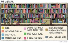 """""""Wonderful cartoon by @tomgauld describes my bookshelf pretty accurately. Give him a follow if you enjoy books or science. Also buy his stuff and find out which category his books will be in your library!"""""""
