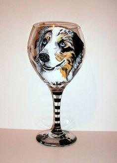 Pet Portrait Custom Wine Glass One 20 oz. by SharonsCustomArtwork