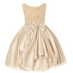 c89a49907f7 Rosette Satin Pick up Flower Girl Dress Wedding Elegant Pageant Dresses  Silver Champagne Black Ivory White