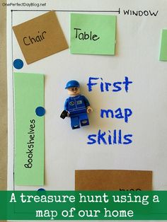 Mapping skills for young children. Making a map of the classroom or their house! Students will get a first look at how maps work, are read, and how to use a key!