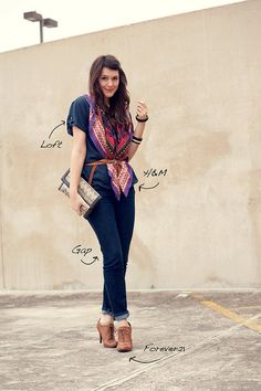 love the dark blues and the belted scarf. sleek silhouette.