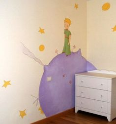 The Little Prince nursery mural was painted by Paredes de Cuento a wonderful muralist in Madrid, and friends :) Childrens Bedroom Decor, Baby Room Decor, Nursery Decor, Wall Decor, Little Prince Party, The Little Prince, Prince Nursery, Mural Wall Art, Baby Boy Rooms