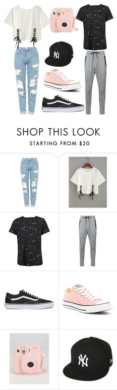 """boyfriends"" by kamillypiasecki ❤ liked on Polyvore featuring Topshop, Boohoo, Zanerobe, Vans, Converse, Fujifilm and New Era"