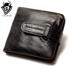 Luxury Vintage Casual 100% Real Genuine Cowhide Oil Wax Leather Men Short Bifold Wallet Wallets Purse Coin Pocket Male Zipper *** Click the image for detailed description