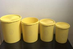 Vintage Yellow Tupperware Containers, Set of 4 one missing a lid