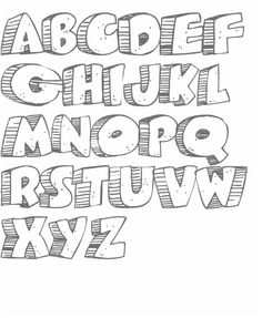 Chubby Alphabet for Coloring. Graffiti Lettering Fonts, Hand Lettering Alphabet, Doodle Lettering, Creative Lettering, Lettering Styles, Calligraphy Letters, 3d Alphabet, Font Styles, Fancy Letters