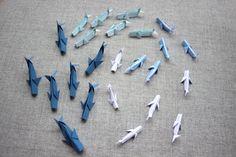 Baleines Origami Décoration Fournitures Décor Lot 24 assortiment Ornement Mer Océan Thème Fête Anniversaire Fait main Papier Baby shower