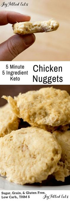My Low Carb Chicken Nuggets have only 5 ingredients and take about 5 minutes to prepare. They freeze well, travel well, and taste delicious! There is just something about chicken nuggets. They really are a comfort food. These low carb chicken nuggets a Low Carb Chicken Recipes, Low Carb Recipes, Keto Chicken, Cooked Chicken, Chicken Meals, Entree Recipes, Dinner Recipes, Chicken Nuggets, Low Carb Lunch