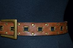 Vintage Leather Belt with Square and stud design. by FlanneryCrane, $24.00
