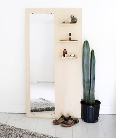 We are suckers for a good storage solution so when we saw this clever DIY by @themerrythought on how to create a floor mirror with built in shelving we had to share. The perfect bedside furniture piece and a great little project for this upcoming long weekend for those of you here in Australia. To read how to make one of these for yourself head over to themerrythought.com blog  by wearetriibe