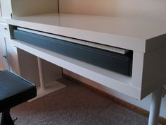 ikea hacker: lack tv unit turned into piano stand. i've been trying to find out how to incorporate my keyboard into my living room for the longest time. the perfect solution. Home Studio Musik, Studio Desk, Studio Furniture, Living Furniture, Music Furniture, Furniture Plans, Pipe Furniture, Furniture Vintage, Furniture Design