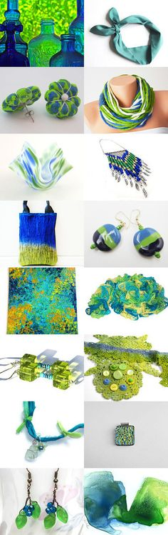 Cobalt and Lime by Trish Davis on Etsy--Pinned with TreasuryPin.com