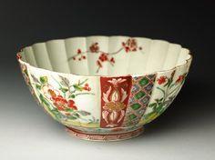 Fluted bowl with prunus and peony spraysoblique, Arita, 18th century, Edo Period