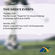 We can't wait to share the results from these events with you! Interested in getting involved in our Thursday Games at Sandridge Golf Club or registering for the Atlantic Junior Golf Tour Championship at Sandridge Golf Club? To register, contact: rogervandykeirgf@gmail.com Player One, Golf Player, Florida Golf, Girls Golf, Golf Tour, Golf Shop, Indian River, Vero Beach, Golf Carts
