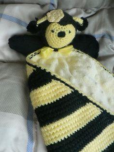 Crochet Animal Security Blanket | Crochet Bee lovey (security blanket)