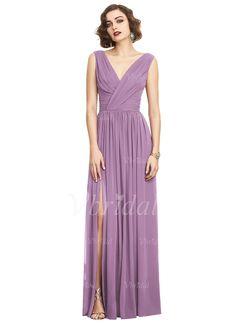 Bridesmaid Dresses - $139.78 - A-Line/Princess V-neck Floor-Length Chiffon Bridesmaid Dress With Ruffle Split Front (0075102380)