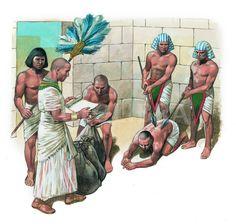 ANCIENT EGYPTIAN VIZIER CHECKS GRAIN- ILLUSTRATION